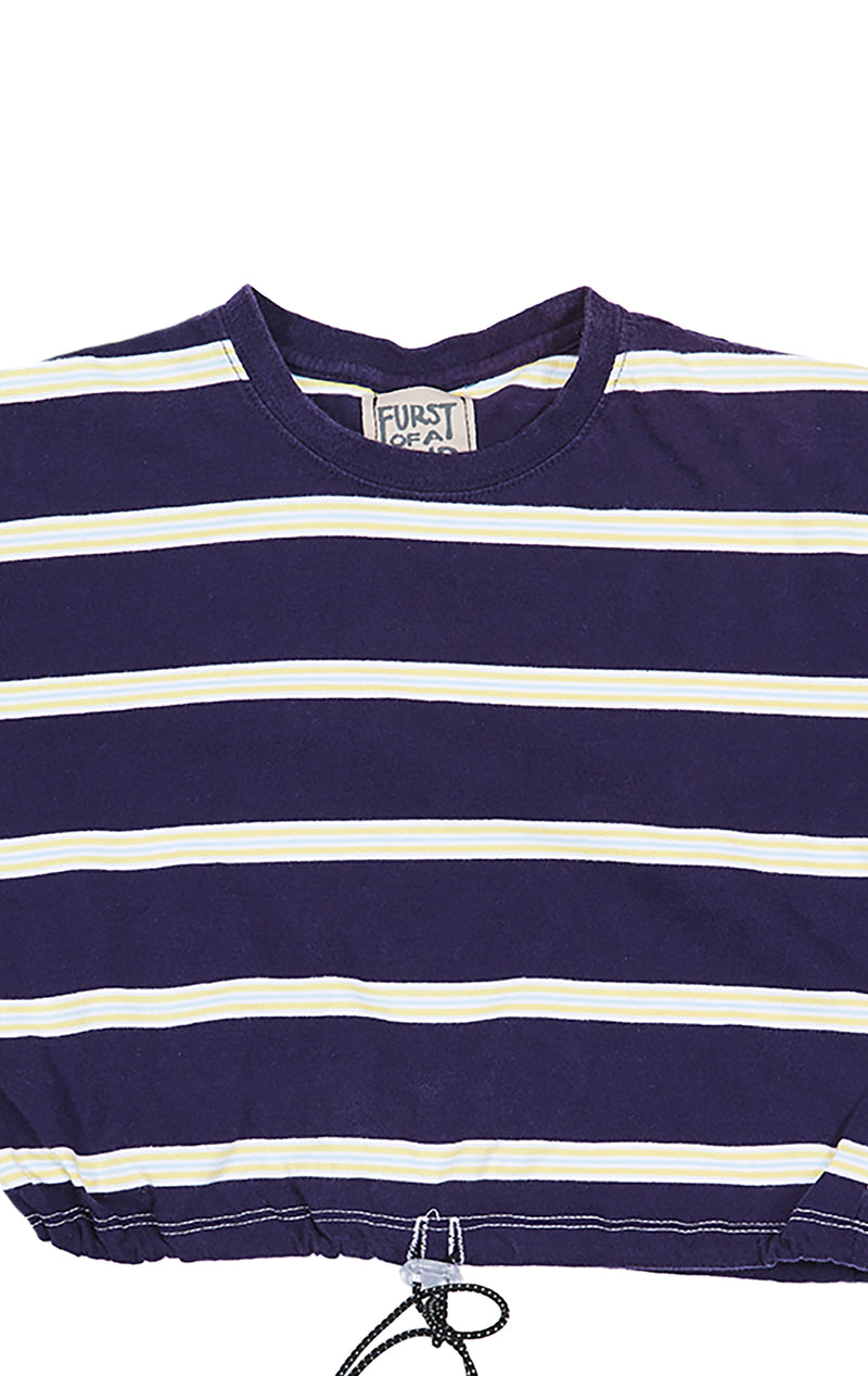 FURST OF A KIND STRIPE CROP TEE WITH TOGGLE FRONT