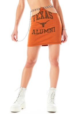 VINTAGE CUT OUT CHAIN BELT SKIRT UNIVERSITY OF TEXAS