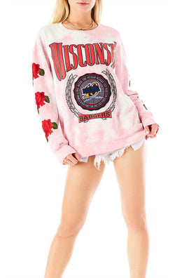 VINTAGE ROSE EMBROIDERED TIE DYE SWEATSHIRT