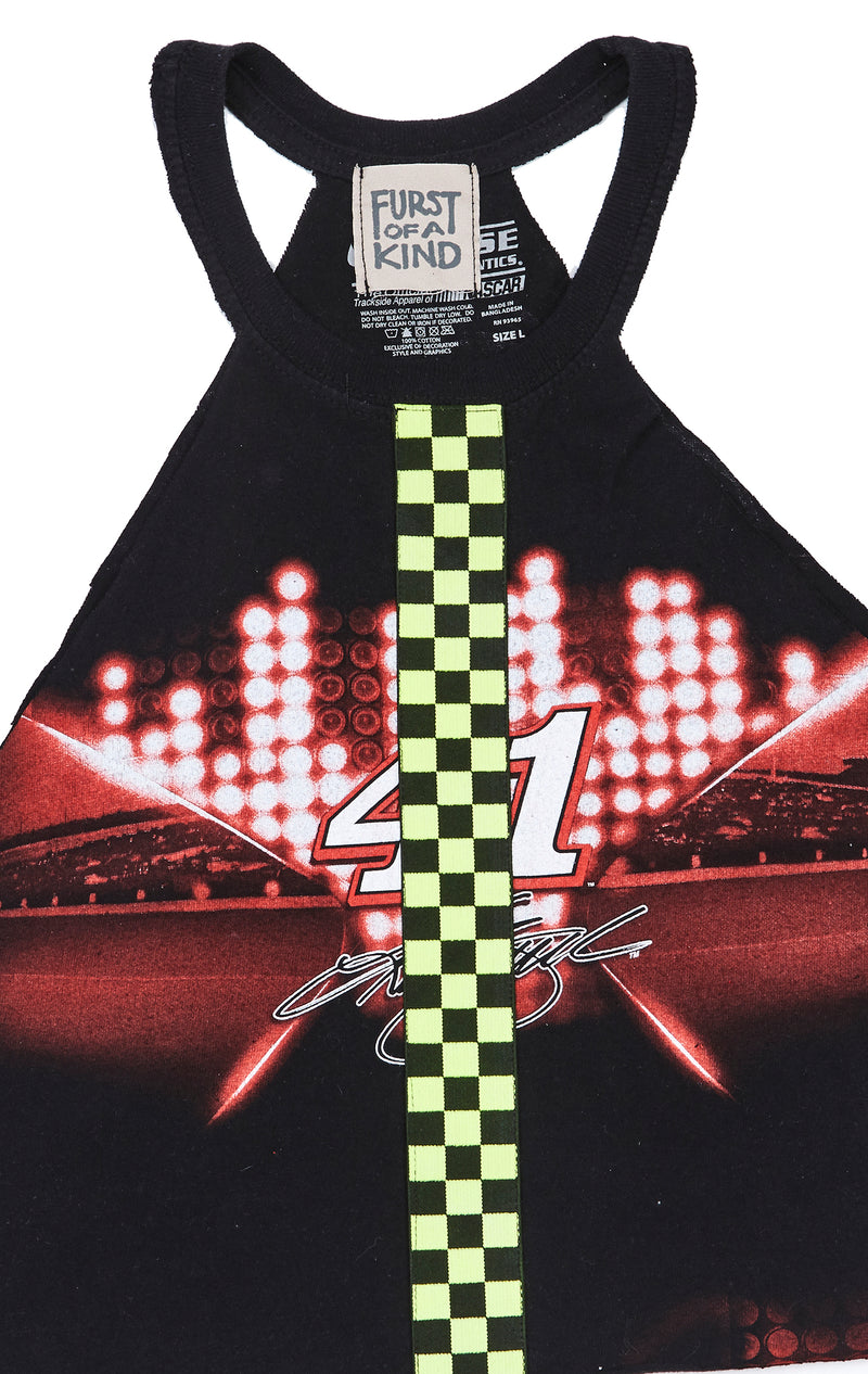 CUT OUT TEE WITH NEON CHECKERED INSERT FRONT