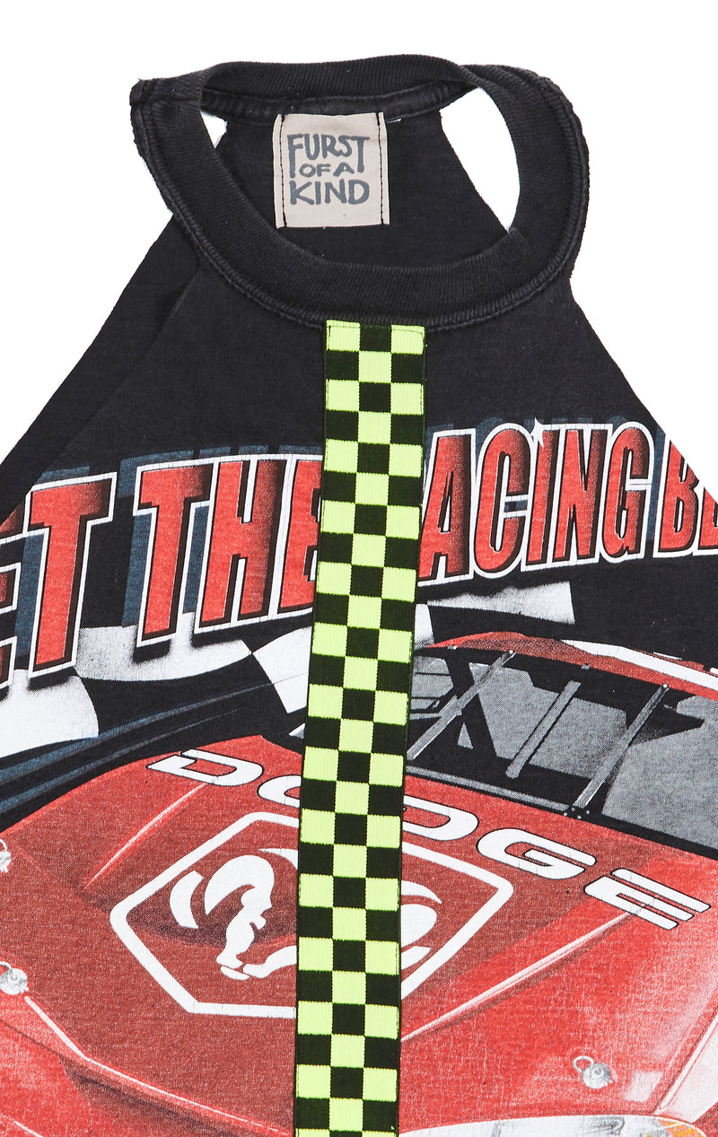 CUT OUT TEE WITH NEON CHECKERED INSERT CLOSE UP