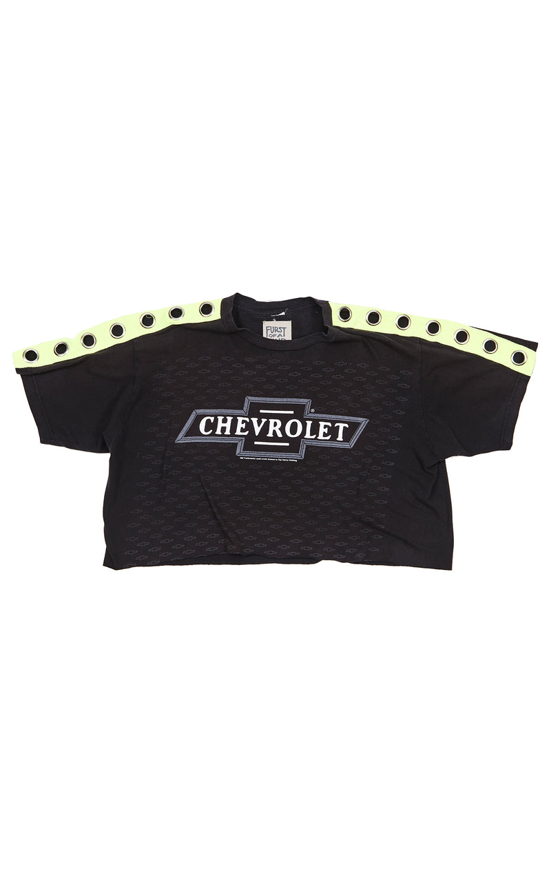 CROP TEE WITH NEON GROMMET SLEEVES