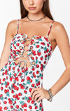 MILLAU STRAWBERRY PRINT LACE UP ROMPER CLOSE