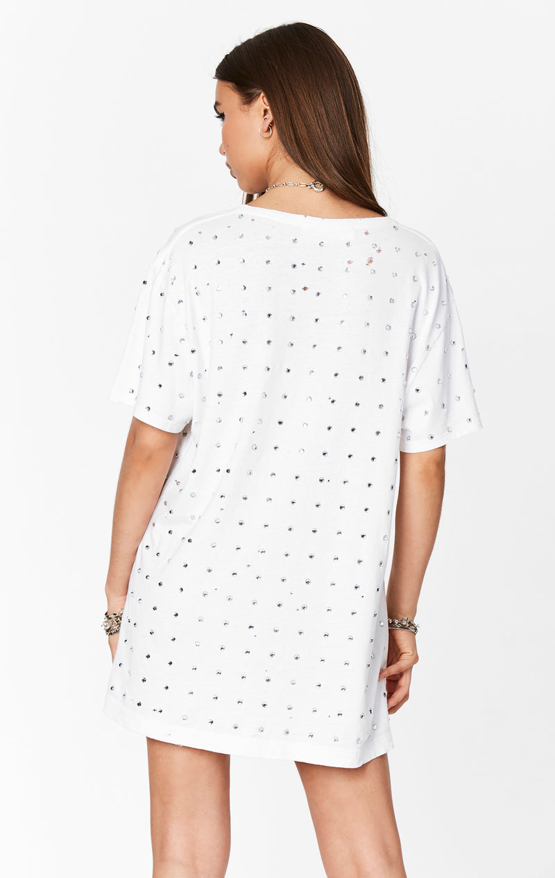 EMMA AND SAM ALL OVER RHINESTONE TEE WHITE