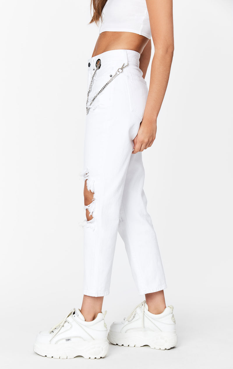 CARMAR DENIM WHITE HERMIA CHAIN FRONT JEAN SIDE