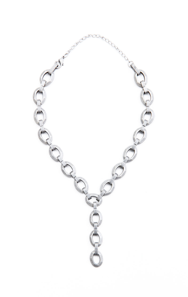 BRUSHED HEAVY CHAIN LARIAT NECKLACE