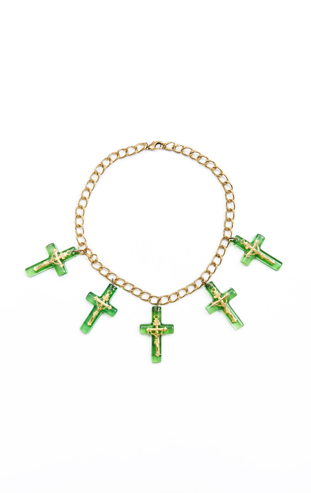 RESIN CROSS NECKLACE ON CHUNKY CHAIN