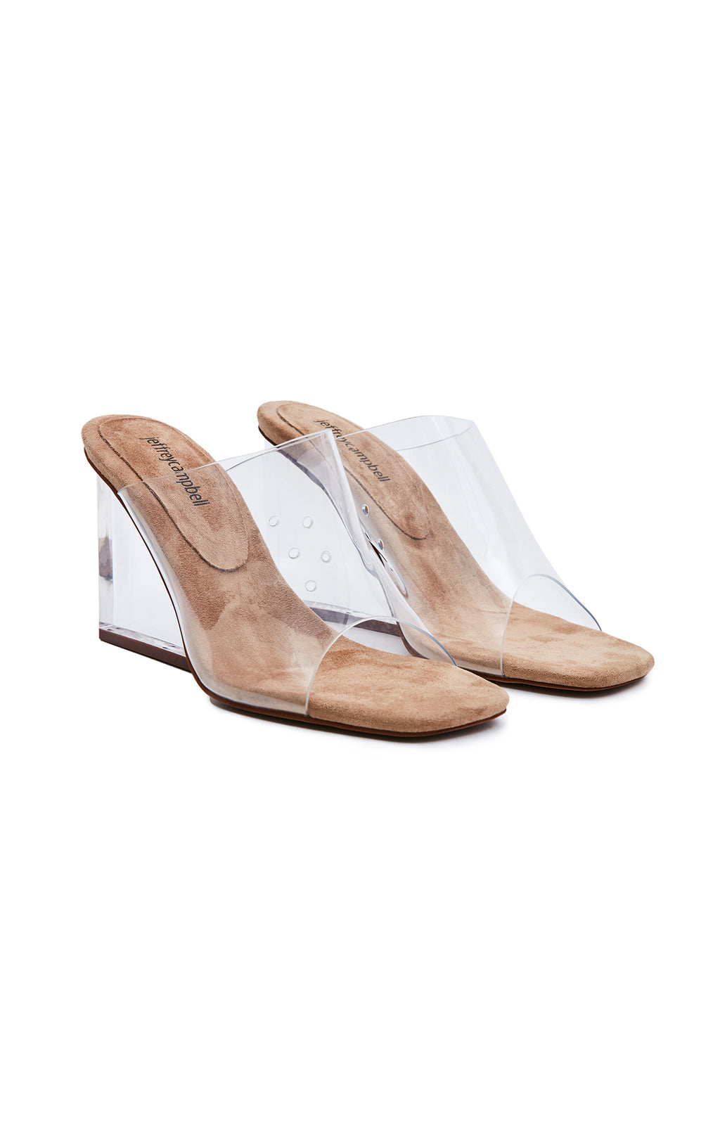 JEFFREY CAMPBELL ACETATE CLEAR WEDGE MULE