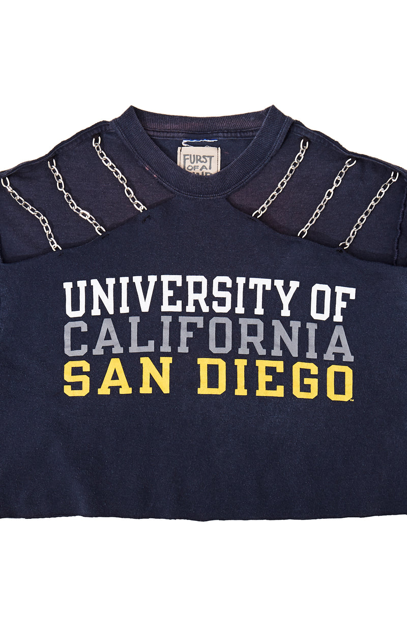 COLLEGE CROP TEE WITH CHAIN CUT OUT