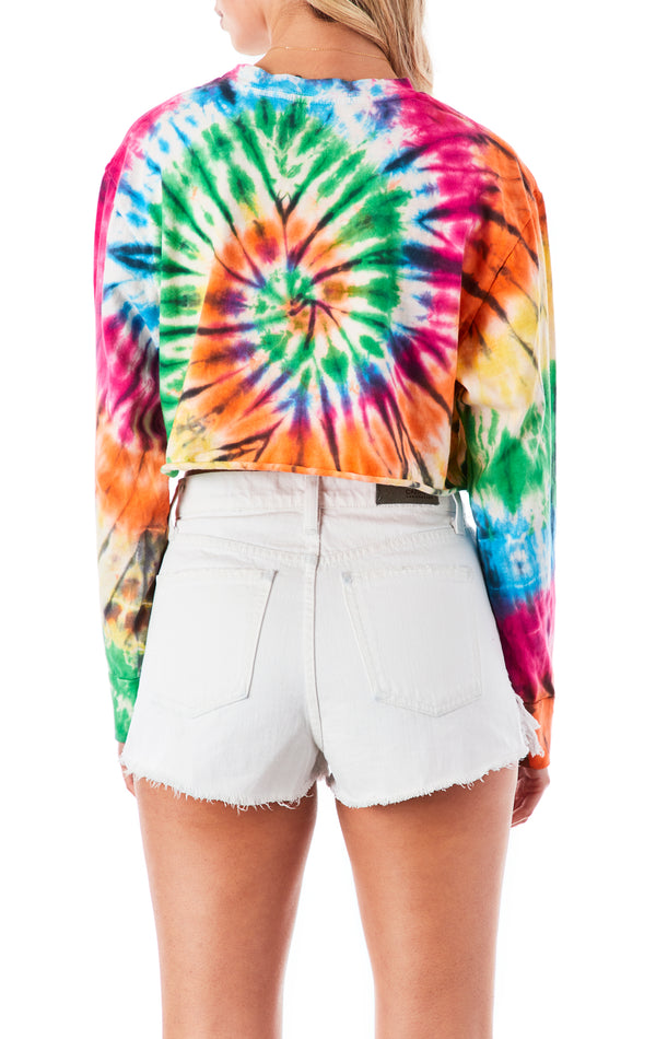 BRIGHT SPIRAL TIE DYE LONG SLEEVE CROP T-SHIRT