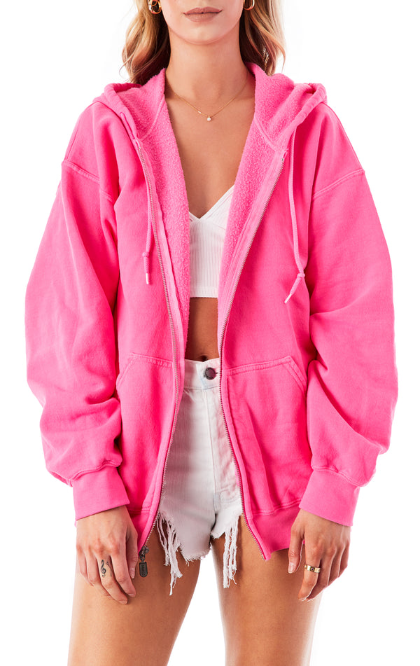 FUCHSIA ZIP UP SWEATSHIRT