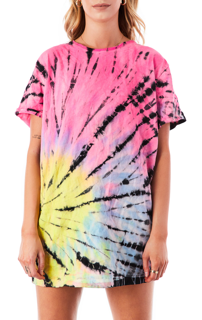 ASYMMETRICAL SPIRAL TIE DYE OVERSIZED T-SHIRT DRESS