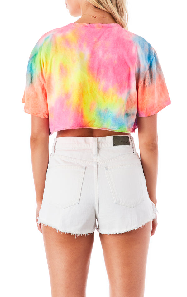 NEON CLOUD TIE DYE CROP T-SHIRT