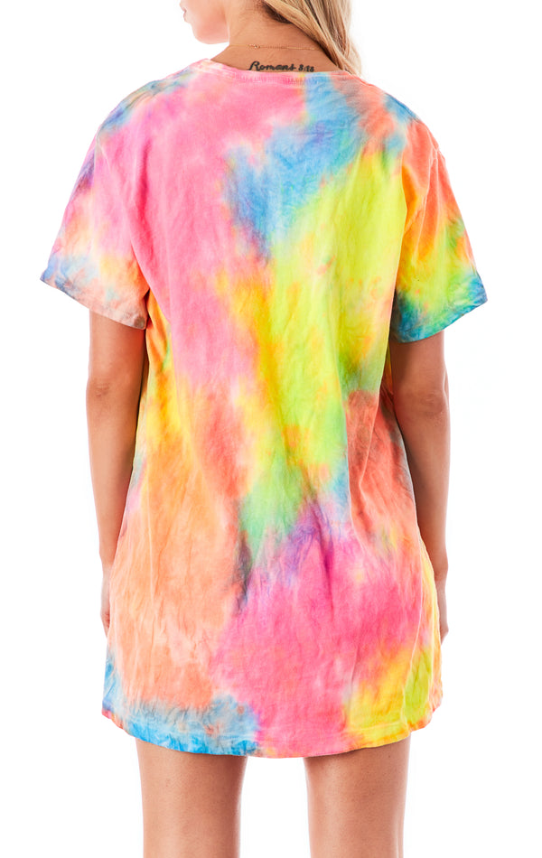 NEON CLOUD TIE DYE OVERSIZED T-SHIRT DRESS
