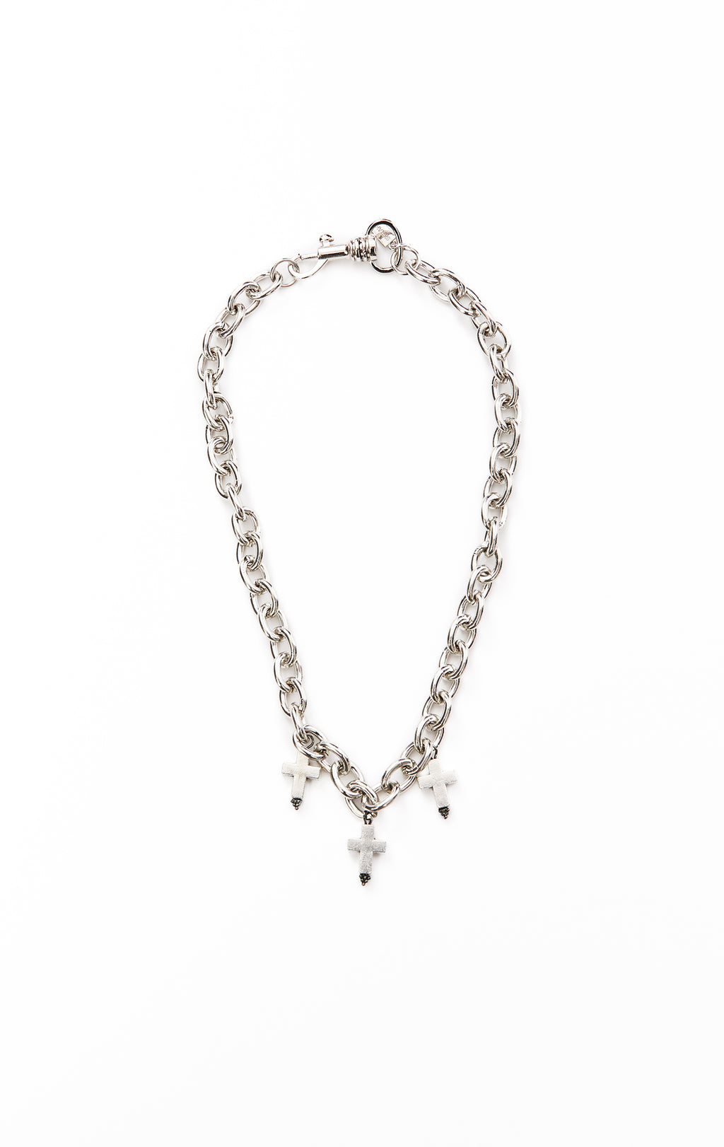 SHRAKE CHAIN NECKLACE W/ SPIKE CROSSES