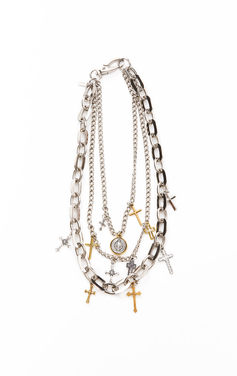 SHRAKE LAYERED CHAIN CROSS NECKLACE