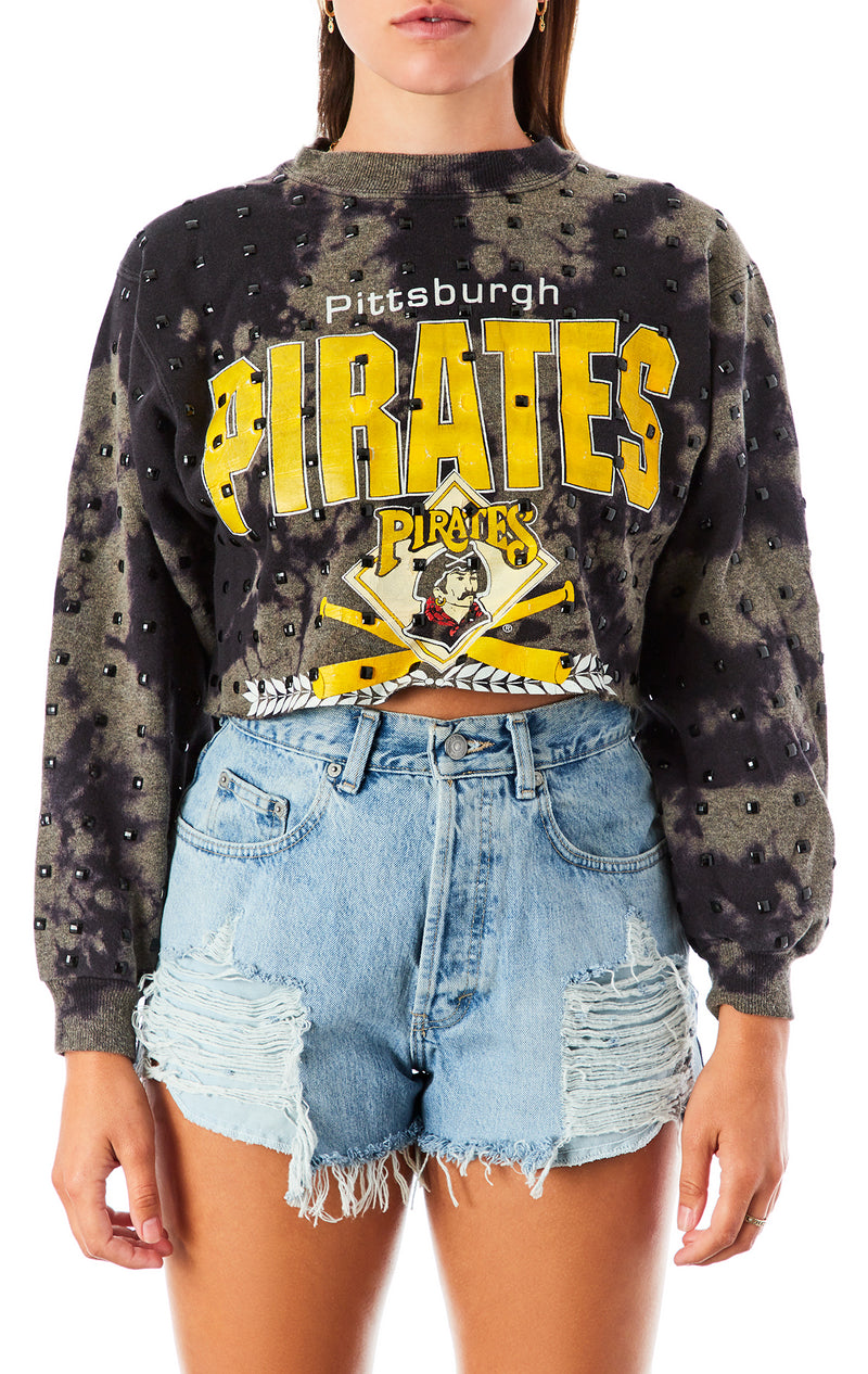 VINTAGE BLEACH BLACK ALLOVER RHINESTONE CROP SWEATSHIRT