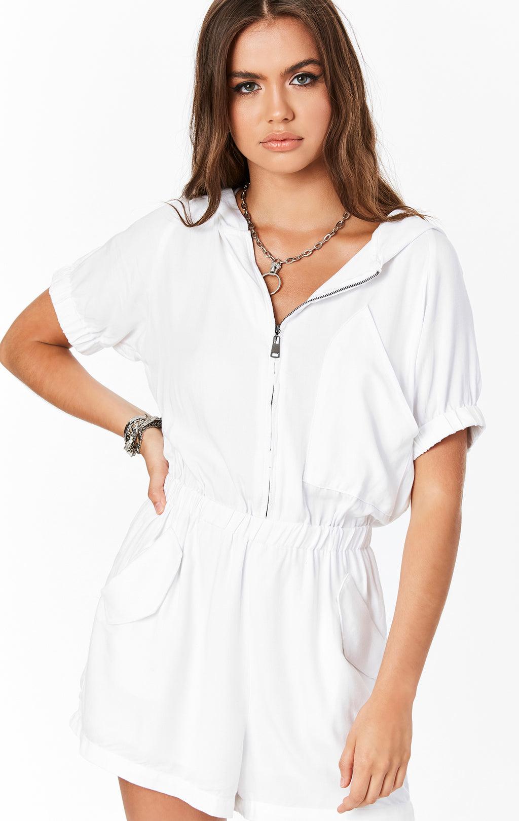 HOODED ZIP FRONT ROMPER