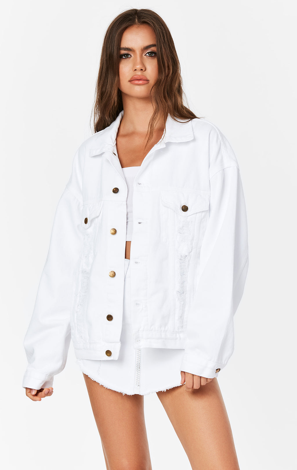 WHITE RHINESTONE SKULL AUDREY OVERSIZED DENIM JACKET