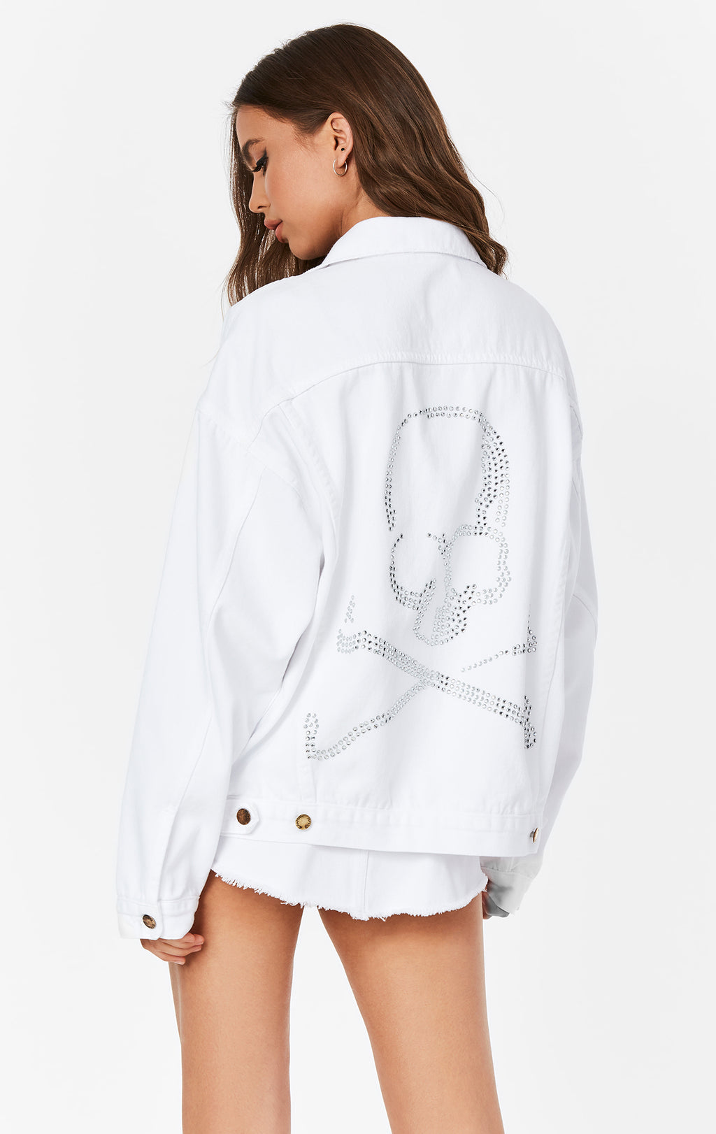 WHITE RHINESTONE SKULL AUDREY OVERSIZED DENIM JACKET BACK