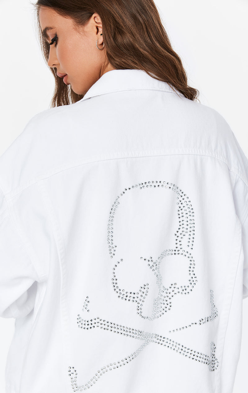 WHITE RHINESTONE SKULL AUDREY OVERSIZED DENIM JACKET DETAIL