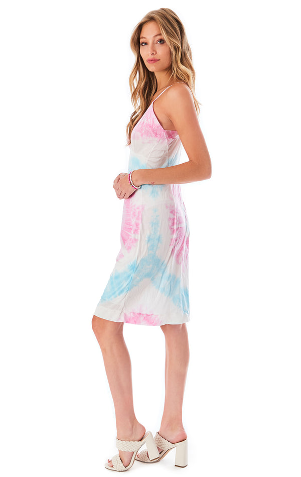 VINTAGE SPIRAL TIE DYE SLIP DRESS