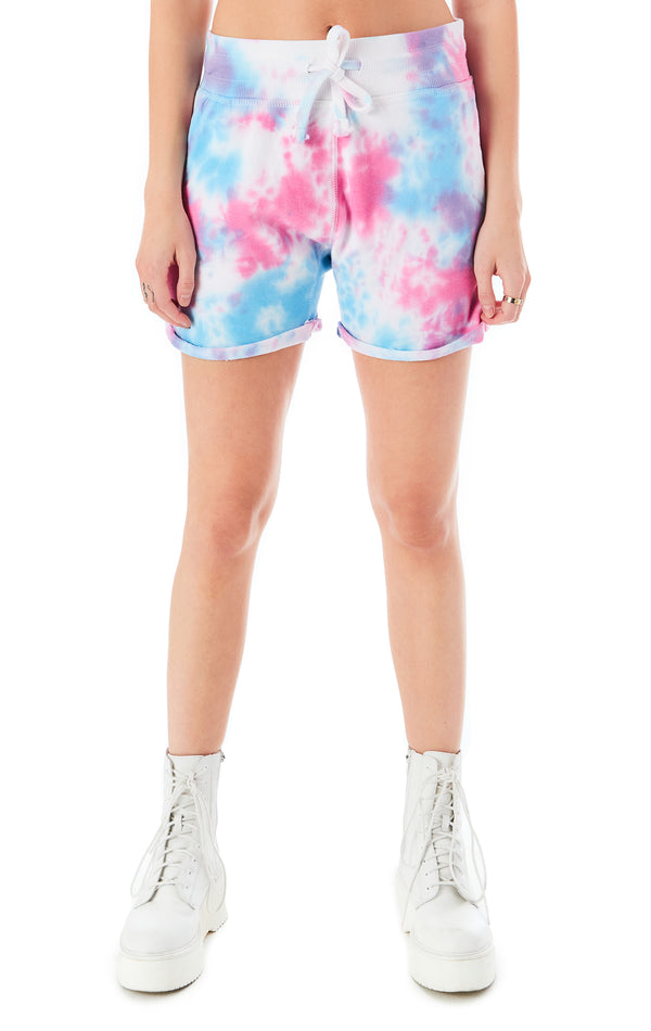 SPLOTCH TIE DYE CUFFED SWEAT SHORT