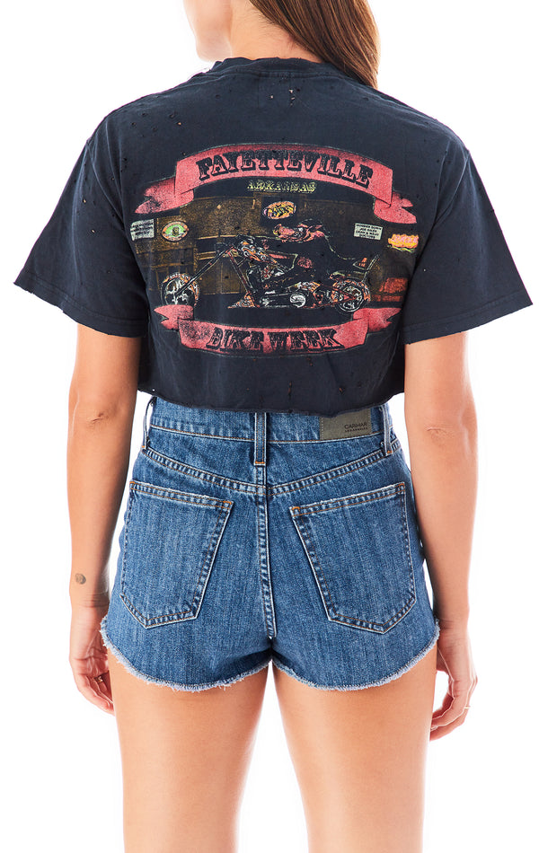 SAFETY PIN CROP T-SHIRT