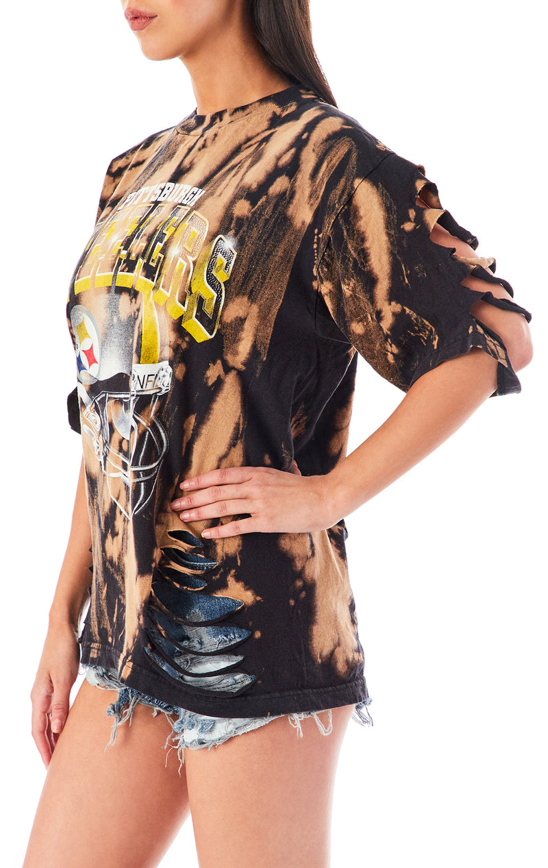 VINTAGE BLEACHED SLASHED T-SHIRT