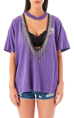 RHINESTONE FRINGE V-NECK CUT OUT T-SHIRT