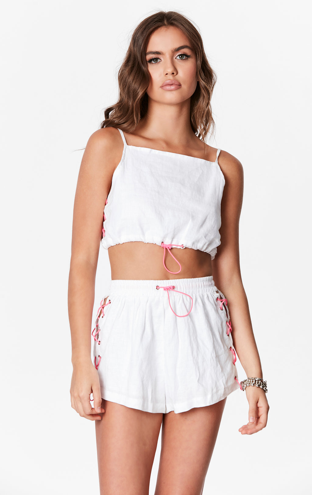 LACE UP BUNGEE LINEN SHORTS