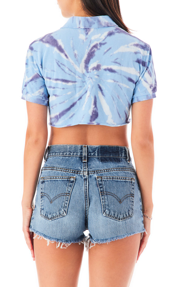 VINTAGE TIE DYE CROP POLO T-SHIRT
