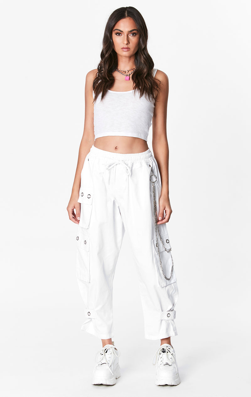 BAGGY PANT WITH EYELET AND CHAINS
