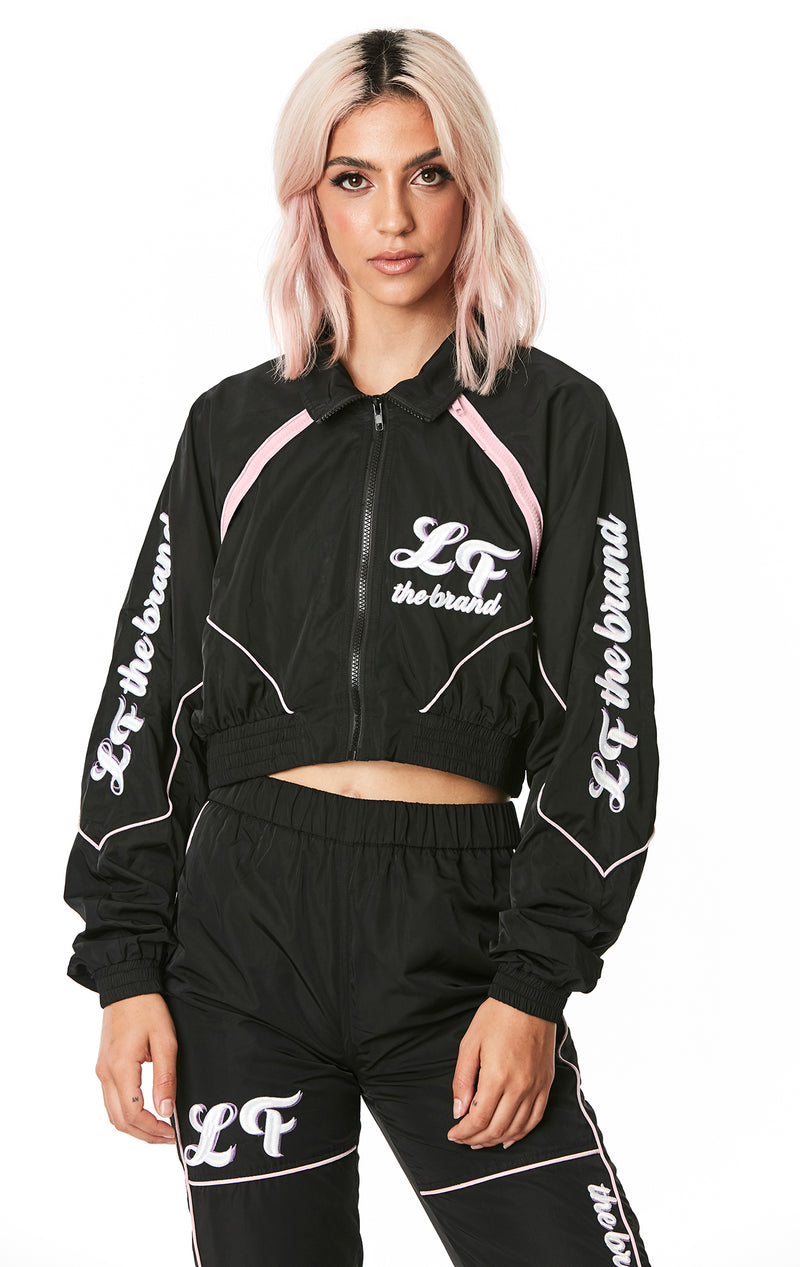 CROP WINDBREAKER JACKET WITH EMBROIDERY