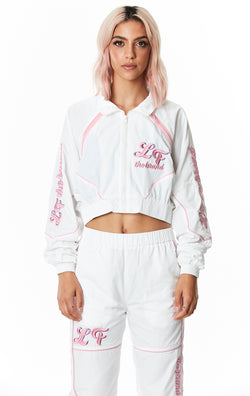 CROP WINDBREAKER JACKET WITH EMBROIDERY FRONT