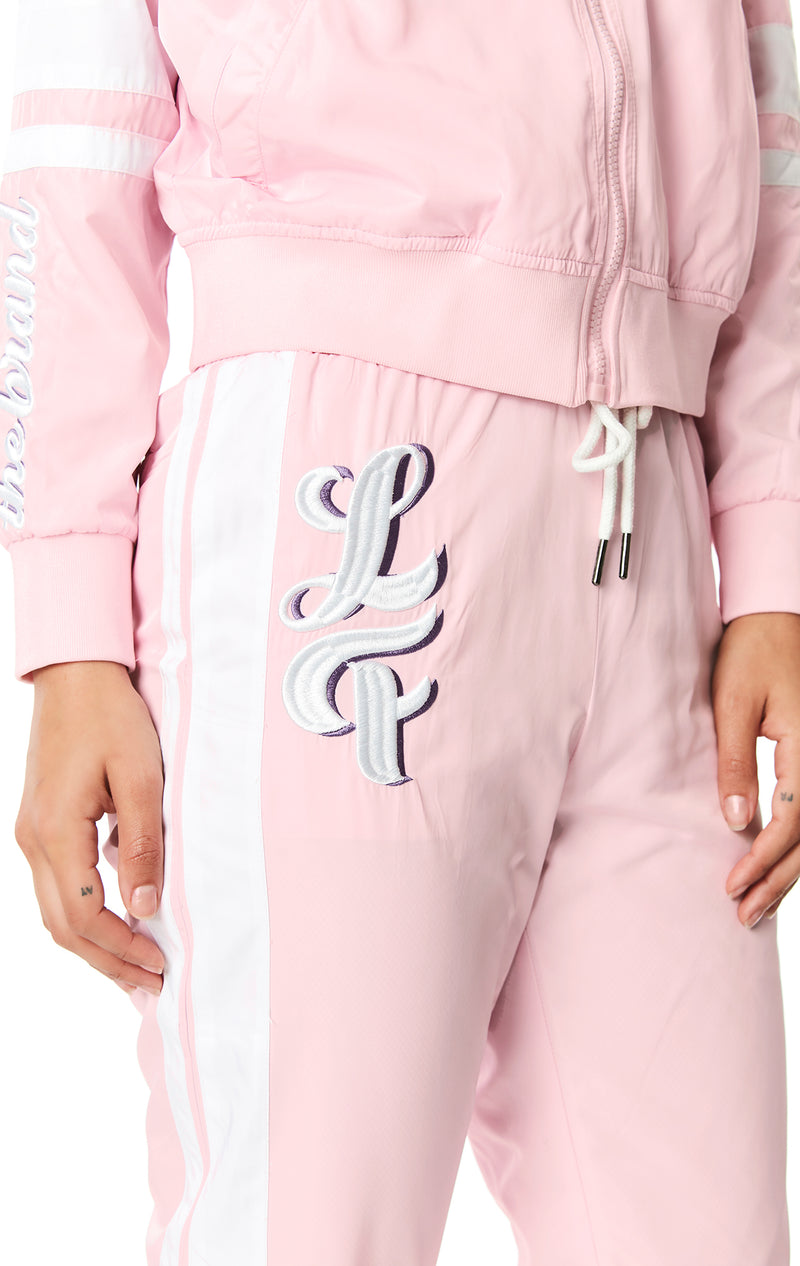 DRAWSTRING WINDBREAKER PANT WITH EMBROIDERY DETAIL