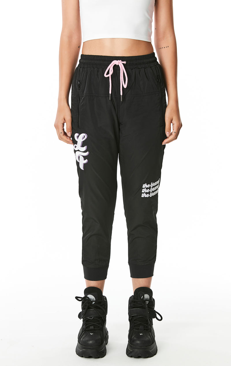 WINDBREAKER PANT WITH EMBROIDERY FRONT