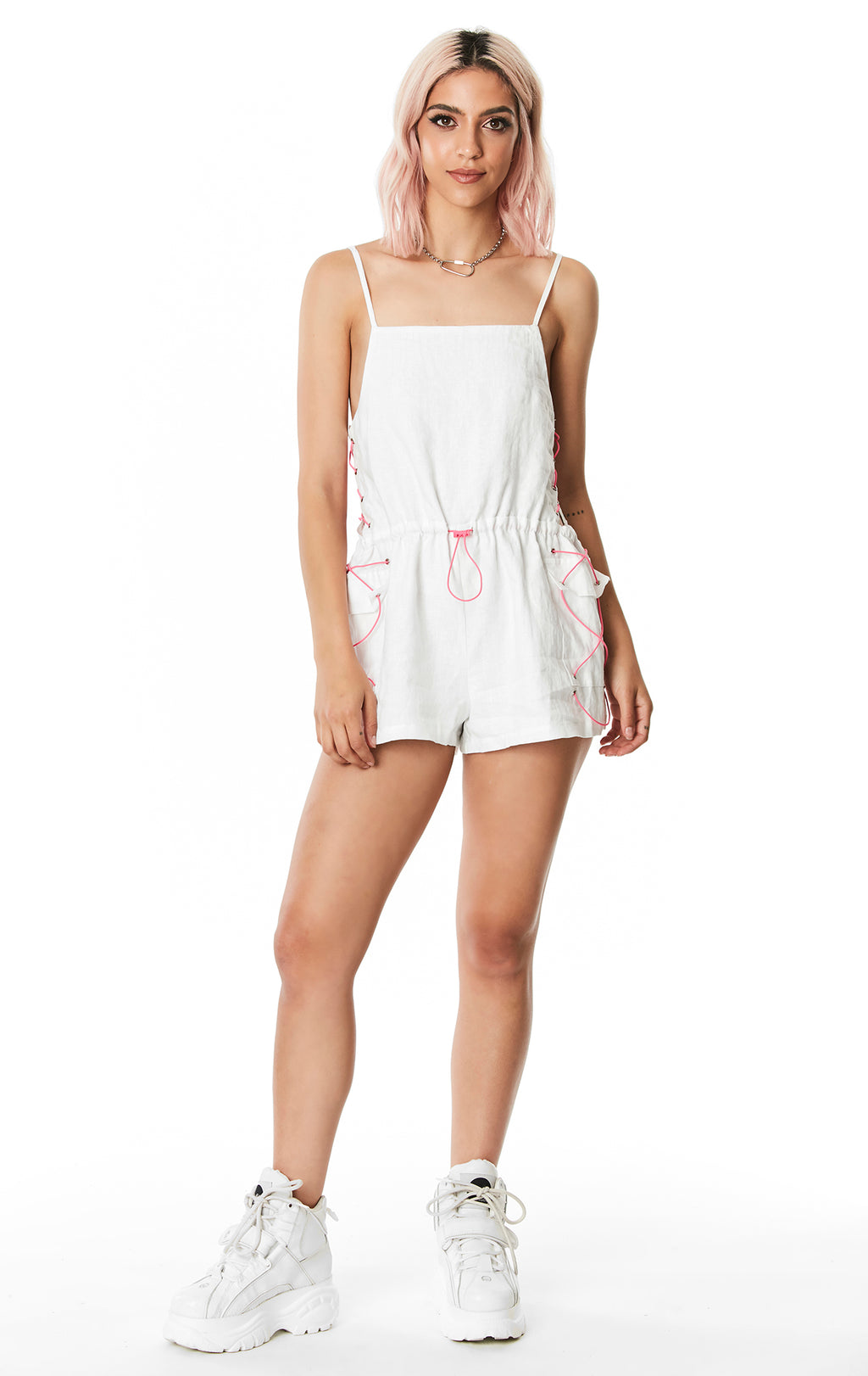 BUNGEE SIDE LINEN PLAYSUIT