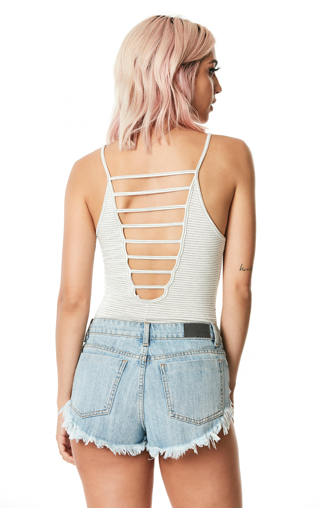 STRAPPY BACK STRIPED BODYSUIT