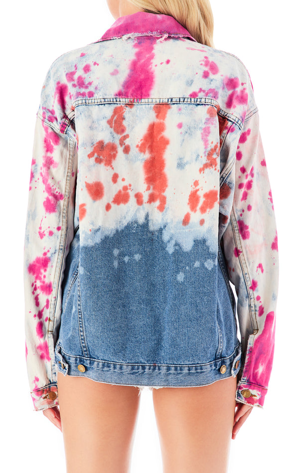 AUDREY DIP DYE SPLOTCH DENIM JACKET