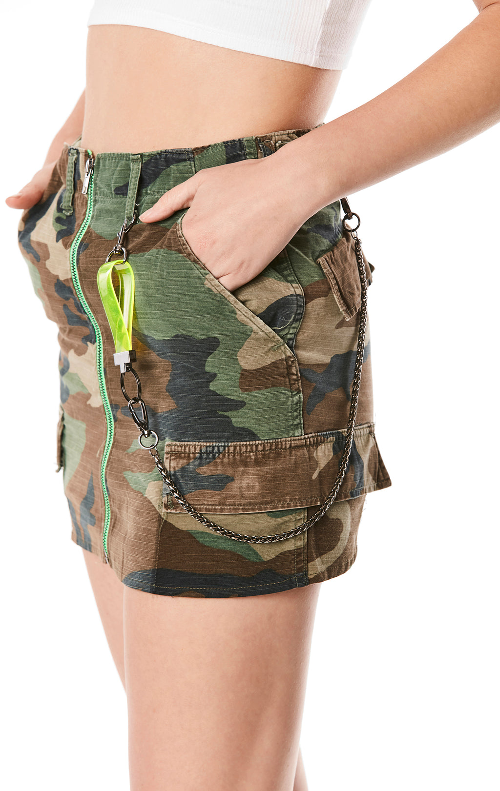 NEON ZIP FRONT CAMO SKIRT WITH VINYL HARNESS AND CHAIN
