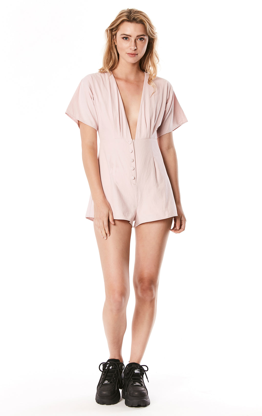 DEEP V BUTTON FRONT LINEN ROMPER