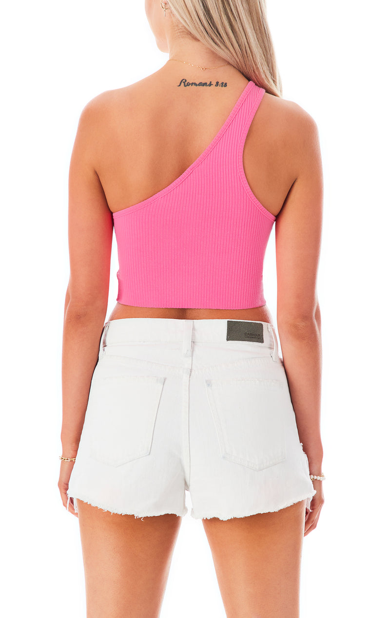 CROP ONE SHOULDER CIRCLE CUT OUT TANK TOP
