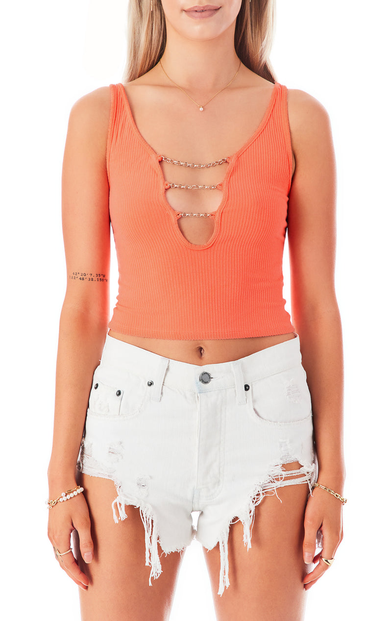 CHAIN LADDER V-NECK TANK TOP