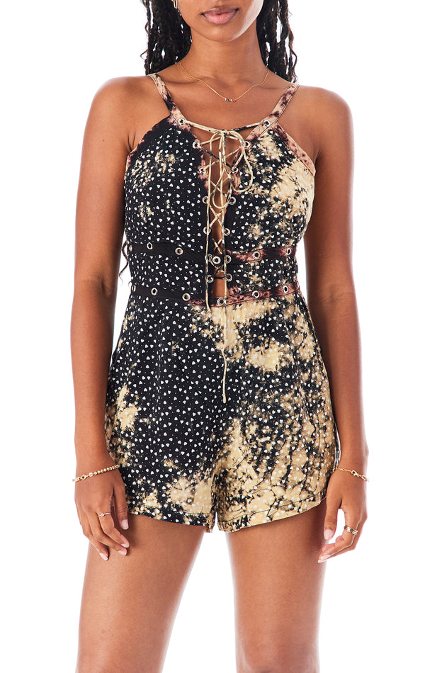 HEART LACE UP PLAYSUIT