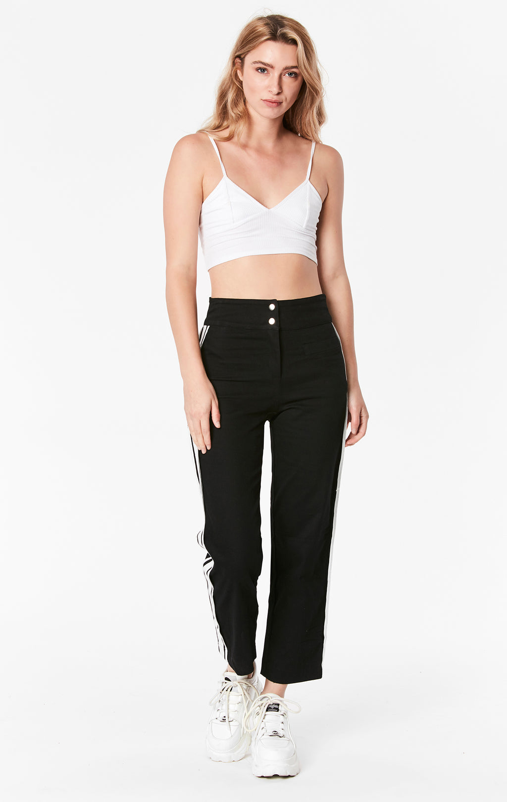 CONTRAST SIDE STRIPE WIDE LEG PANT