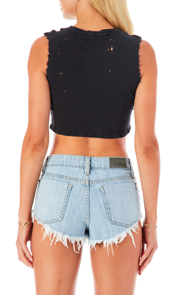 STONEWASH POOR BOY SLEEVELESS CROP T-SHIRT