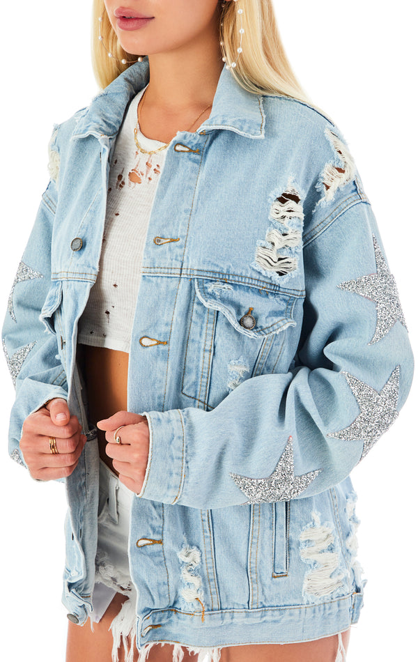 AUDREY LUNAR STAR PATCH DENIM JACKET