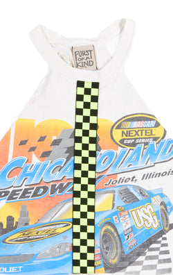 CUT OUT TEE WITH NEON CHECKERED INSERT