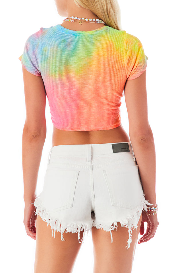NEON CLOUD TIE DYE POOR BOY CROP T-SHIRT